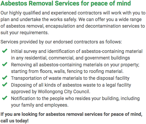 Asbestos Watch Wollongong - removal right